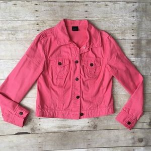 FADED GLORY Bright Pink Cropped Denim Jean Jacket